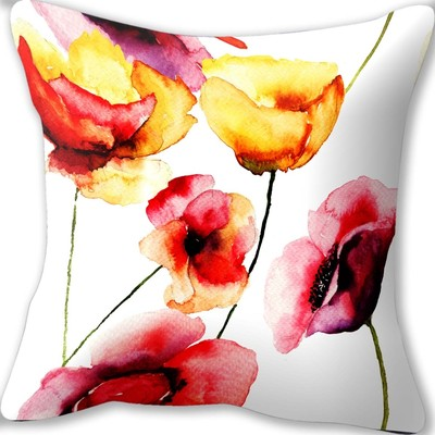 Watercolor Poppies Cushion