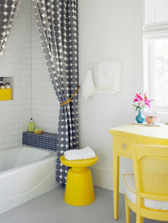 Stylish bathroom color schemes scott emma for Bathroom decor yellow and gray